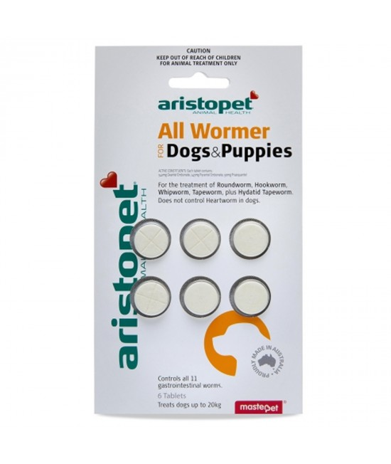 Aristopet AllWormer For Dogs and Puppies 10kg Tablet 6 Pack