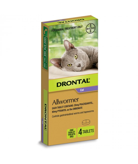 Drontal Allwormer For Cats New Easy Dose Shape 4kg 4 Tablets
