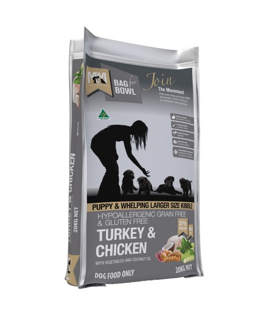 Meals For Mutts MfM Grain Free Turkey And Chicken Large Kibble For Puppy And Whelping Dry Dog Food 20kg
