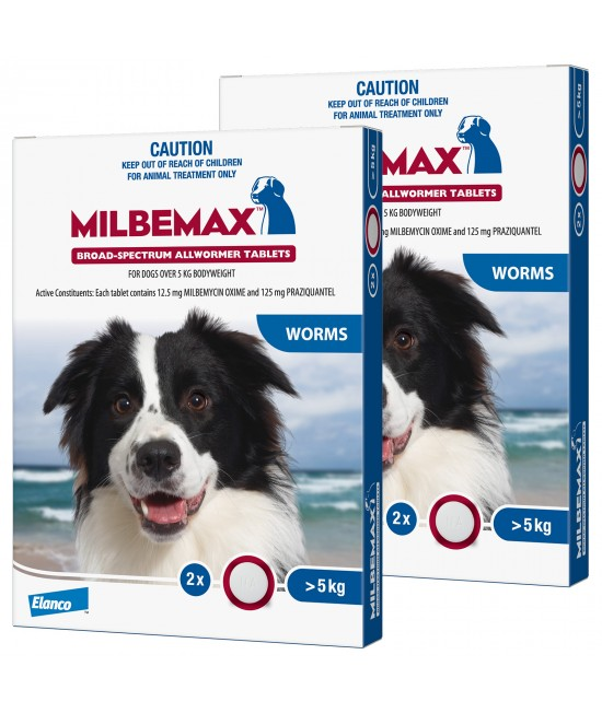 Milbemax Allwormer For Dogs Over 5kg 2 Tablets X 2