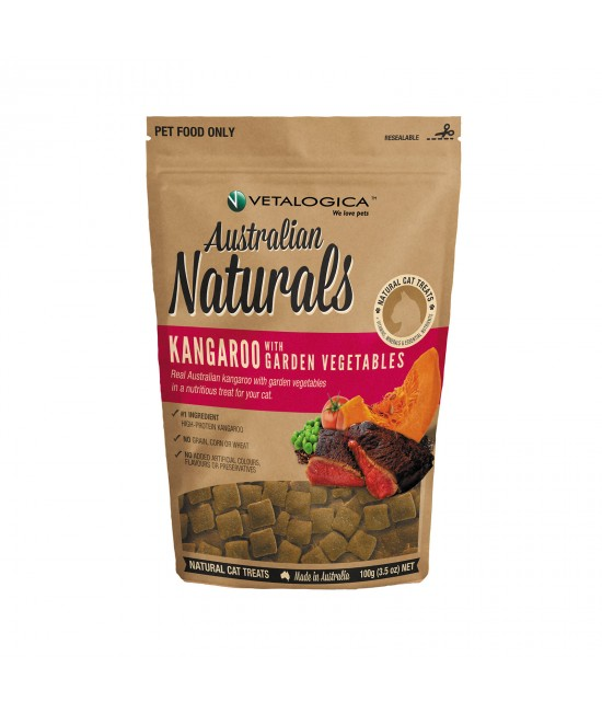 Vetalogica Australian Naturals Kangaroo And Garden Vegetables Grain Free Treats For Cats 100gm