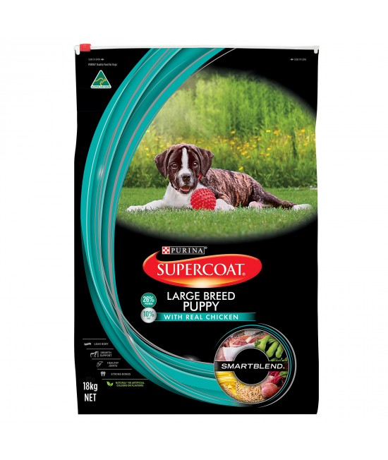 Supercoat Real Chicken Large Breed Puppy Dry Dog Food 18kg