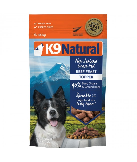 K9 Natural Grain Free Beef Feast Toppers Freeze Dried Meat Dog Food 142g