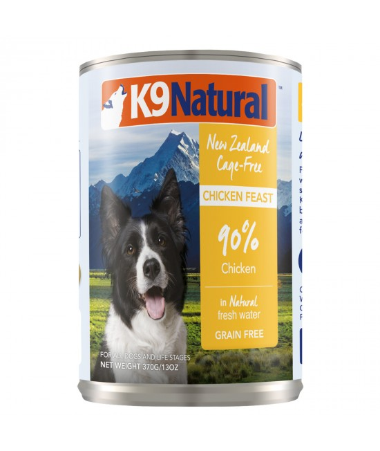 K9 Natural Grain Free Chicken Feast Canned Wet Meat Dog Food 370gm x 12