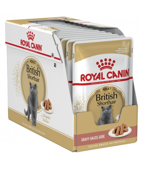 Royal Canin British Shorthair In Gravy Adult Over 12 Months Pouches Wet Cat Food 85gm x 12