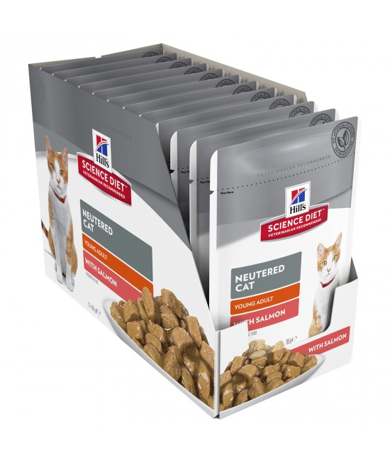 Hills Science Diet Neutered Young Adult Salmon Pouches Wet Cat Food 85gm x 12