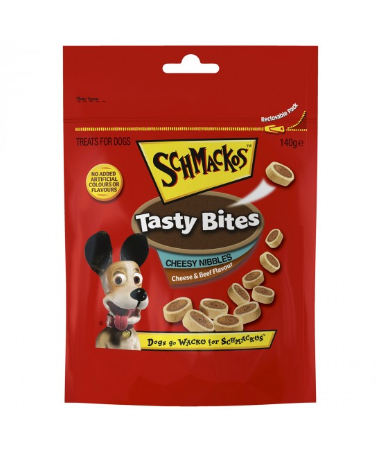 Schmackos Tasty Bites Cheesy Nibbles Cheese and Beef Treats For Dogs 140g