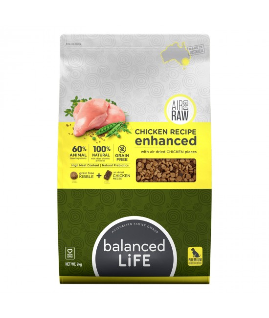 Balanced Life Enhanced Grain Free With Air Dried Chicken Adult Dry Dog Food 9kg
