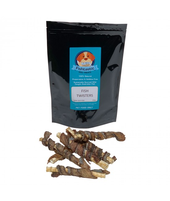 Fishtastic Dried Fish Twister Cartilage Treats For Dogs 250gm