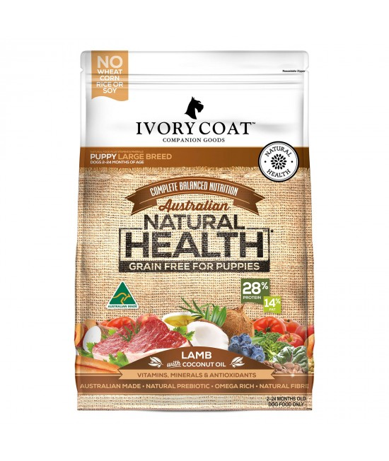 Ivory Coat Natural Health Grain Free Lamb And Coconut Oil Large Breed Puppy Dry Dog Food 2kg