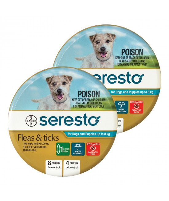 Advantage Seresto Flea And Tick Collar For Dogs And Puppies Up To 8kg 2 Pack